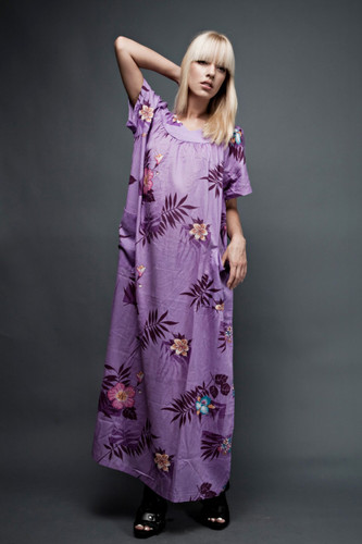 vintage 70s dress muumuu cotton tent boho maxi purple floral ONE SIZE