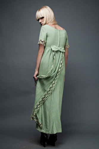 "vintage 60s maxi gown dress SMALL green cascading bow back empire floral eyelet tail Murray Hamburger (34"" bust)"