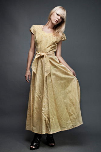 "vintage 40s yellow gown maxi dress MEDIUM moire taffeta sash belt sweetheart neck  (38"" bust) :"
