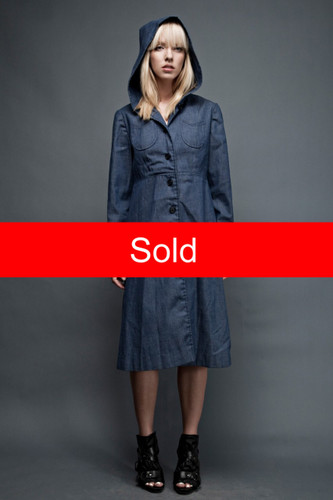 "vintage 60s MOD denim hooded coat dress LARGE L dark wash (33"" waist)"