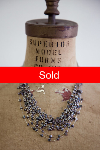 Handmade Jewelry | dark fresh water pearl multi-stranded necklace