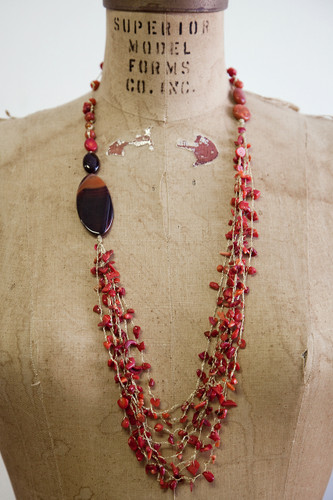 Handcrafted Jewelry | red coral + stones long asymmetrical multi-stranded necklace