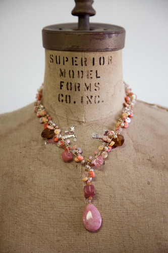 Handcrafted Jewelry | drop pendant pink stone necklace