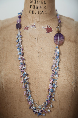 Handcrafted Jewelry | purple stones long asymmetrical multi-stranded necklace