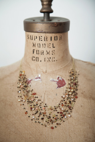 Handcrafted Jewelry | micro bead stones + pearls multi-stranded necklace