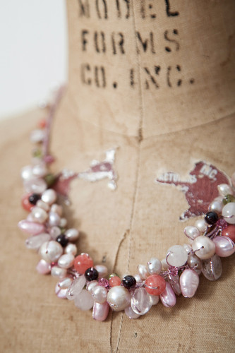 Handcrafted Jewelry | pink stones + pearls cluster necklace