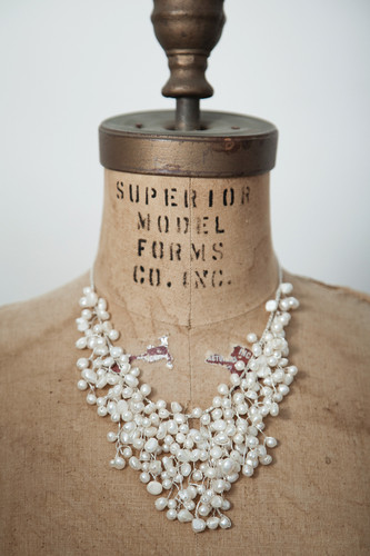 Handcrafted Jewelry | white fresh water pearls cluster bib necklace