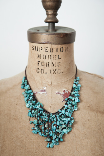 Handcrafted Jewelry | turquoise cluster bib necklace