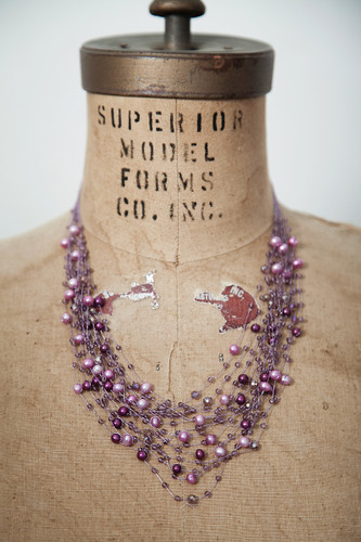Handcrafted Jewelry | purple glass beads + pearls multi-stranded necklace