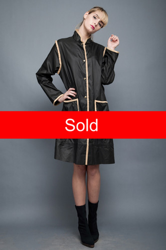 vintage 70s black tan raincoat thin parka anorak coat dress ONE SIZE