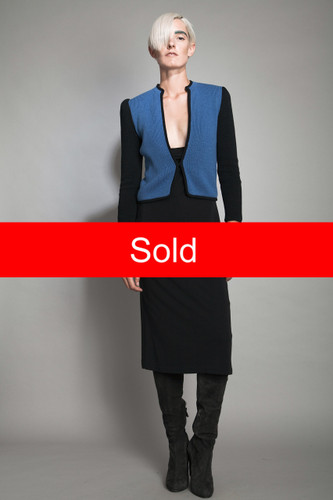vintage 60s knit sweater jacket cardigan blue black puff sleeves square silk lined ONE SIZE