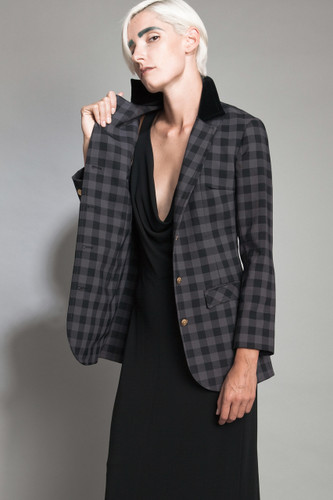 "vintage 60s blazer riding jacket hacking coat plaid 2-tone black gray gold 3D buttons nipped waist M (30"" waist)"