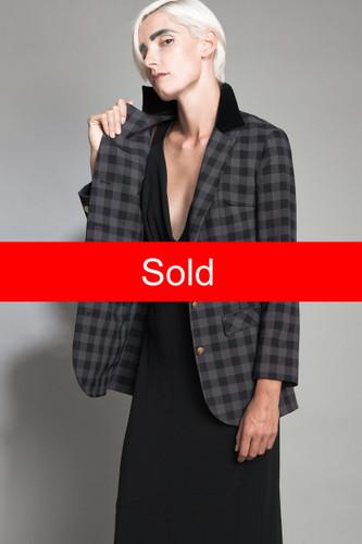 "vintage 60s blazer riding jacket hacking coat plaid 2-tone black gray gold 3D buttons nipped waist M (30"" waist)"