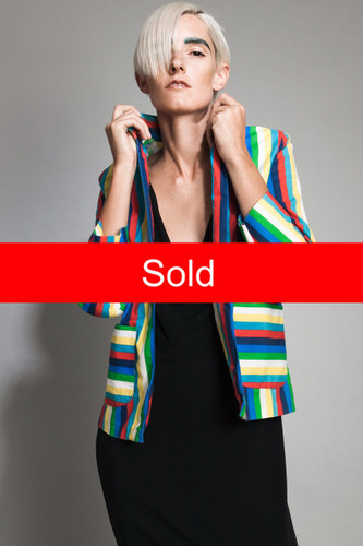 "vintage 70s blazer jacket cotton bright colorful rainbow stripes open front long sleeves top M (38"" bust)"