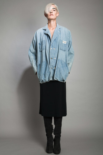 vintage 90s grunge revival denim jacket top oversized batwing sleeves distressed Jerico ONE SIZE plus size 1X 2X