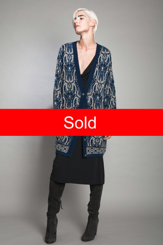 vintage 80s long cardigan sweater plush knit medallion blue oversized ONE SIZE