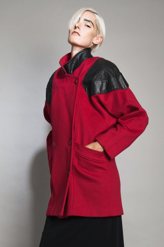 "vintage 80s oversized coat red black wool felt textured leather padded shoulders M (41"" hips)"