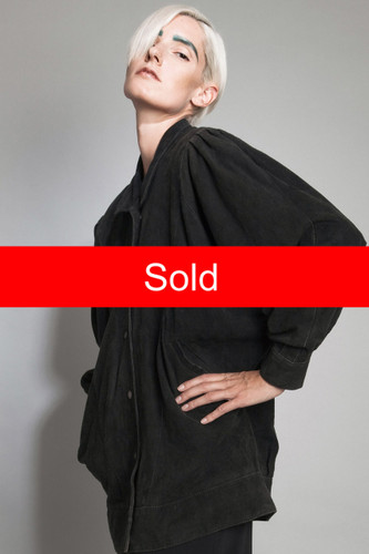 vintage 80s black suede shirt jacket leather goat puff sleeves oversized PLUS SIZE XL 1X 2X 3X