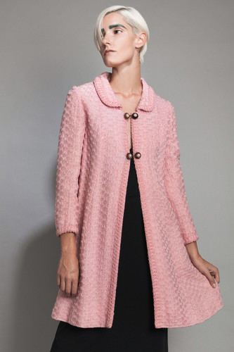 "vintage 50s French woven textured tweed pink dress evening coat A-line metal floral buttons intricate S M (36"" bust)"