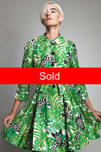 "vintage 60s MOD giraffe print coat dress green kitschy animal XS S (35"" bust)"