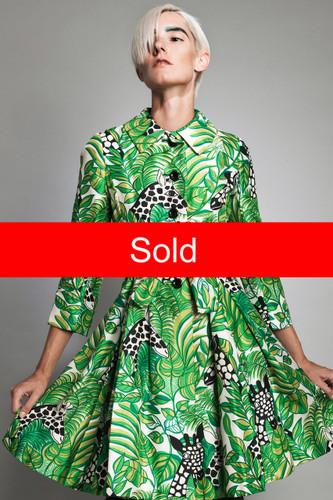 "vintage 60s MOD giraffe print coat dress green kitschy animal XS S (35"" bust)"