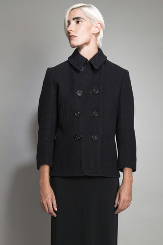 "vintage 60s MOD wool peacoat jacket black navy double breasted anchor buttons S M (38"" bust)"