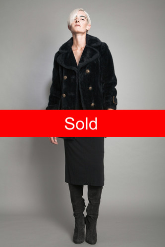 "vintage 60s faux fur coat black gold buttons double breasted S M (38"" bust)"