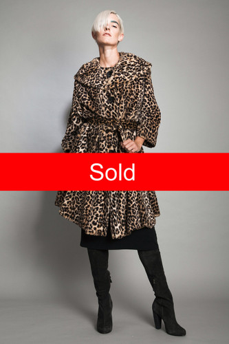 vintage 50s faux cheetah fur coat oversized tent trapeze belt ONE SIZE plus size 4X 5X