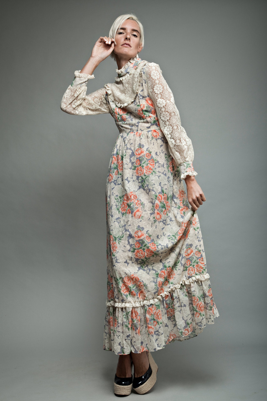 Vintage long sleeve maxi dresses