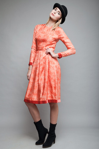 "vintage 50s Lucie-Spilo dress orange silk intricate long sleeves (26"" waist)"