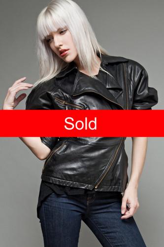 vintage 80s leather jacket black moto biker motorcycle asymmetrical peplum hourglass M