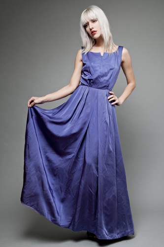 vintage 40s evening gown maxi dress blue purple split neckline pleated XS S