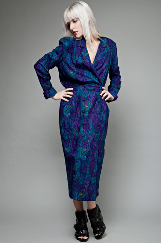 "vintage 80s dress maxi rayon paisley blue purple long sleeves XL 1X plus size (46"" bust)"
