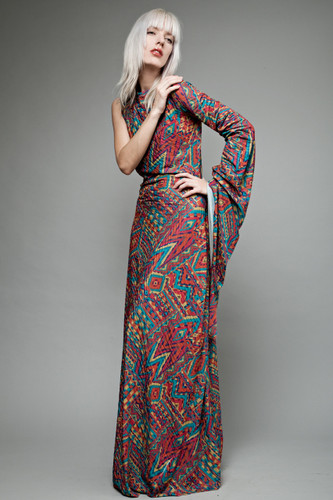 vintage 70s maxi dress avant garde asymmetrical long sleeve colorful aztec ONE SIZE