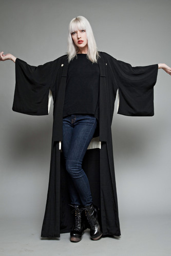 authentic vintage kimono from Japan - full length black ONE SIZE