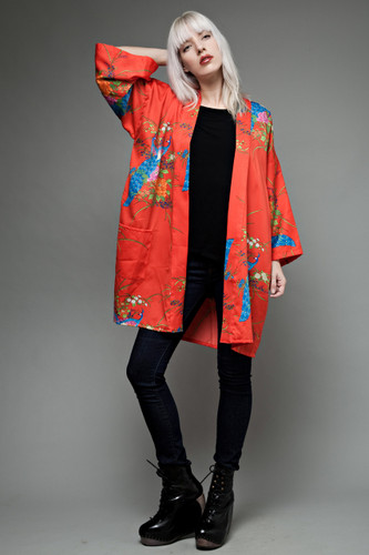 Japanese red kimono night robe peacock print ONE SIZE