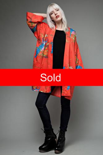 Japanese red kimono night robe peacock print ONE SIZE