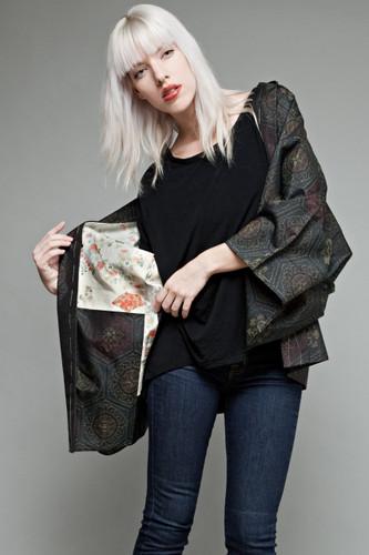 authentic vintage Japanese short kimono jacket haori meisen silk mid century black floral medallion