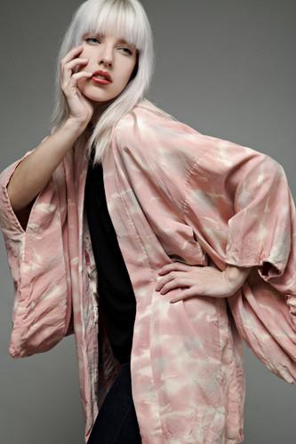 authentic vintage Japanese short kimono jacket haori pink cloud ONE SIZE