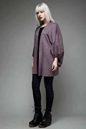 authentic vintage Japanese short kimono jacket haori purple white circles ONE SIZE