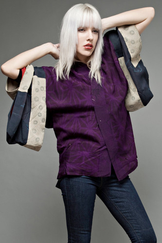 kimono jacket haori authentic vintage Japanese silk purple patch flaw ONE SIZE
