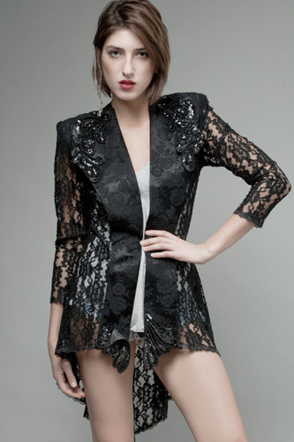 vintage 80s black lace jacket tuxedo tail sheer see through floral beads sequins