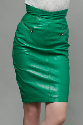 "vintage 80s leather skirt green pencil North Beach high waisted S (25"" waist)"