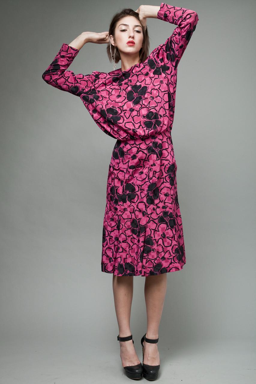 vintage 80s dress pink fuschia black flower floral print M (27 ...