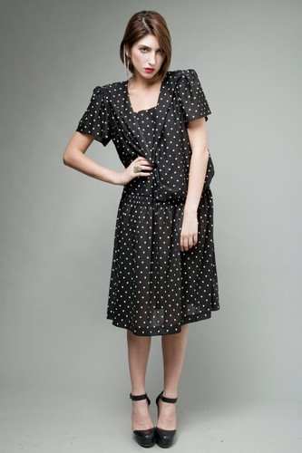 vintage 80s dress polka dot black white sailor drop waist ONE SIZE to plus size 1X