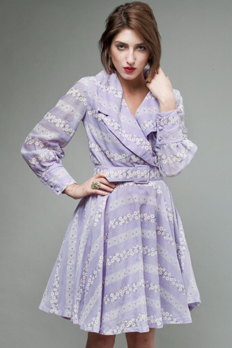 "vintage 70s shirt dress full skirt periwinkle purple floral long sleeves M (27"" waist)"