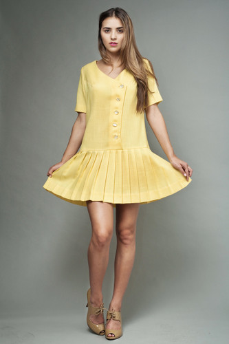 "vintage 60s MOD dress yellow drop waist pleated asymmetrical mini M L (40"" bust)"