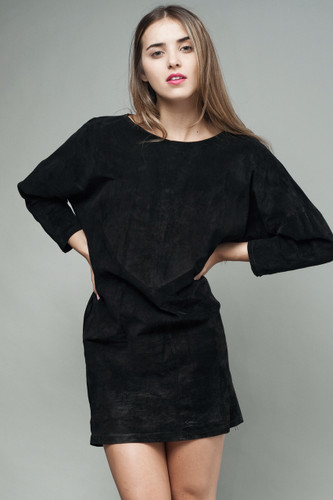 "vintage 80s suede leather dress black mini long sleeves M (40"" hips)"
