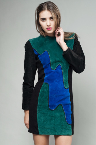 vintage 80s suede leather dress panel wavy green blue S M