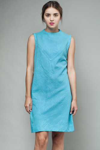 "vintage 60s MOD shift dress turquoise blue yoke sleeveless M L (38"" bust)"